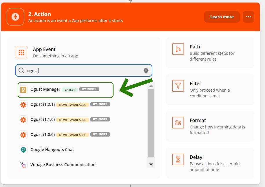 Zapier - choix de l'application réceptrice (Ogust)