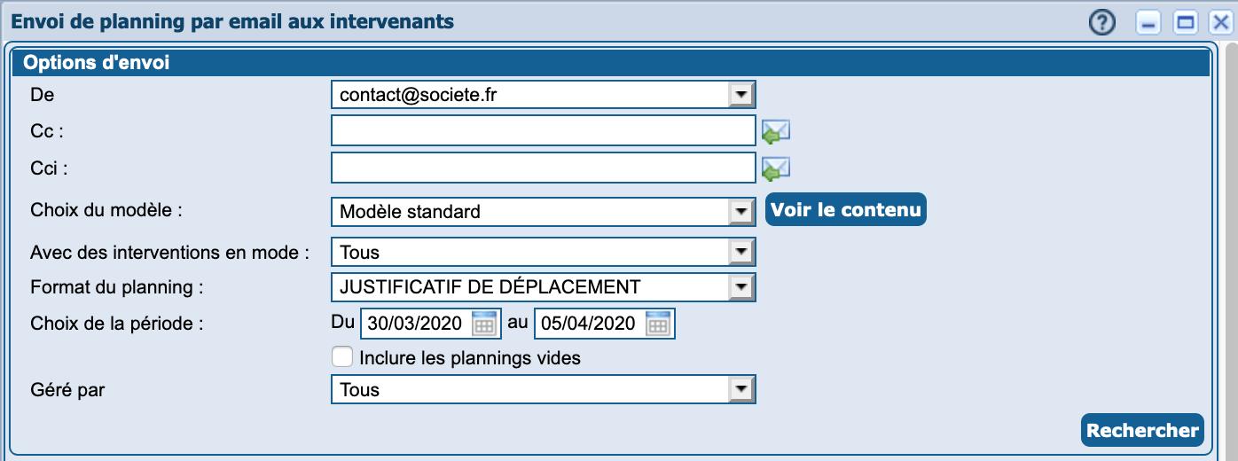 Covid : envoi du planning par email et justificatif